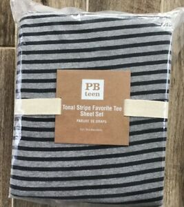 New POTTERY BARN TEEN Favorite Tee jersey knit sheet set FULL stripe NIP $99