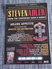 STEVEN ADLER - GUNS N ROSES 2018 LAMINATED TOUR POSTER APPETITE FOR DESTRUCTION!