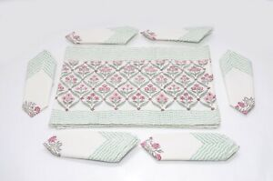 Handblock Cotton Floral Printed Dining Set With 6 Napkins & 6 Place-Mats Runners