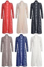 Ladies Long Sleeves Lace Front Open Women Full Length Crochet New Maxi Cardigan