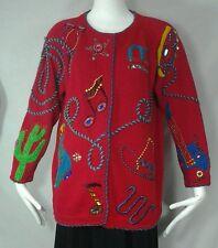 VTG MICHAEL SIMON Western Sweater Music Cowboy Rockabilly Rodeo Beaded Sz L-XL