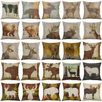 "Animal Deer Bear Cotton Linen Soft Home Decorative Pillow Case Cushion Cover 18"""