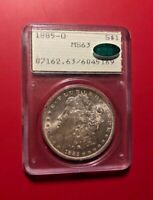 1885-O Morgan Argent Dollar MS63 PCGS ( Cac ) Vieux Support
