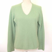 Charter Club 3 Ply Cashmere Cable V-Neck Sweater M Green