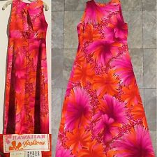 Vintage Hawaiian Fashions Dress Pink Orange White Floral Hawaiian Dress