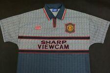 1995-1996 UMBRO Manchester United No. 7 Cantona Beckham Away Shirt SIZE L adults