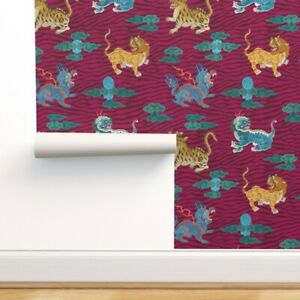 Removable Water-Activated Wallpaper Medium Magenta Clouds Chinese Animals Navy