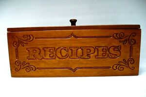 """Vintage Wood Carved Recipes Double Recipe Box  11.5""""W X 4D X 4.5H Nice & Clean!"""