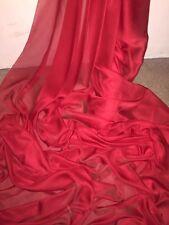 """10 M di colore rosso cationici Due Tonalità Sheer chiffon Abito Nuziale tessuto... 58"""" larghezza £ 25"""