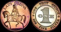 LADY GODIVA POSE OF HORSEBACK  COIN BU 1oz SILVER  BLUE/PURPLE TONED