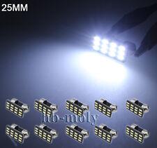 10Pcs Super Bright White 12 SMD LED Festoon 25mm Dome Map Reading Door Light