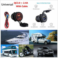 Portable 5V/2.4A & QC3.0 Red LED Dual USB Port Car Boat Quick Charger For iPhone