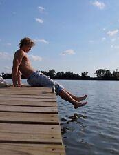 Shirtless Male Muscular Jock Bare Feet Shaggy Hair Sitting On Pier PHOTO 4X6 D86