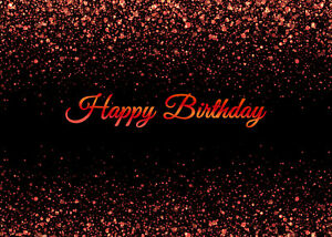 Happy Birthday Black with Red Light Spots 7x5ft Backdrop Vinyl Photo Background