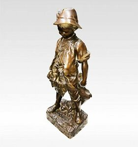 A LOVELY BRONZE FIGURE OF BOY AFTER AUGUST MOREAU, SIGNED.