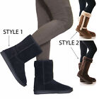 Ladies Womens Winter Warm Fur Casual Snow Comfy Mid Calf Fashion Boots Size 3-8