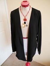 GRACE & FAVOUR Black SHRUG JACKET Size 14 BNWT NEW Cut-Out Back TOP Long Sleeves