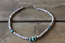 Vintage 90s Turquoise Shell Necklace 14 inch