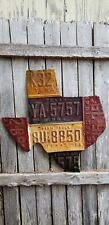 TEXAS  Shape License Plate Art Metal Lone Star State Rustic Decor