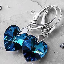 925 STERLING SILVER DANGLE EARRINGS BERMUDA BLUE HEART CRYSTALS FROM SWAROVSKI®