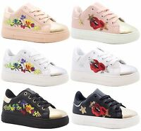 GIRLS KIDS SPORTS PLIMSOLLS LACE UP FLORAL EMBROIDERED PUMPS SHOES TRAINERS SIZE