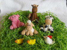 Cake Toppers Farm Animals Set of 7 Horse Cow Sheep Pig Chicken and Ducklings