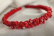 Women Girls Crown Crystal Headband Headwear Swarovski Hair Band Red Handmade