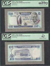 Zambia, Face & Back Essay 10 Kwacha, ND(ca 1977) P26s Uncirculated