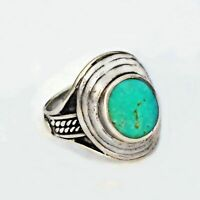 Sterling Silver 925 Estate Large Dome Turquoise Ring Size 10.75