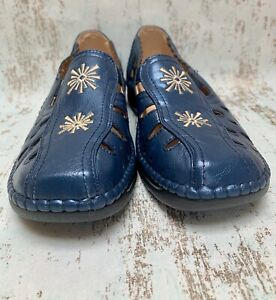Sz 3 - Cushion-walk - Blue Open Shoes Leather Lined With Embroidered Detail New