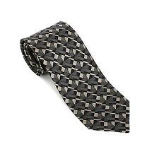11146 auth HERMES black & grey GEOMETRIC silk Tie