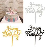 Motorcycle Happy Birthday Acrylic Cake Topper Gold for Wedding Birthday Party G3