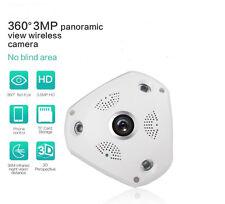 Wi-Fi Panoramique Fisheye IP caméra de sécurité 3.0MP 2.8 mm lentille avec 32 Go Carte SD
