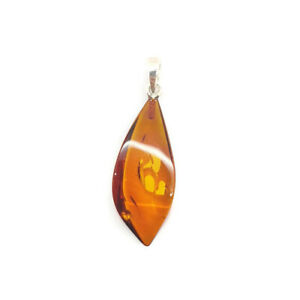 Natural Baltic amber pendant with sterling silver 925 brown color perfect gift
