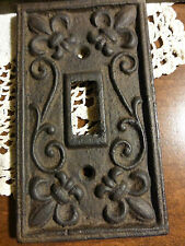 4 Fleur de Lis cast iron switch plate covers