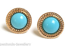 9ct Gold Turquoise round Stud earrings Gift Boxed Made in UK