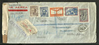 ARGENTINA 1942 REGISTERED COVER AIR CENSOR FORWARDED TO GREAT BRETAGNE, LUXE !!!