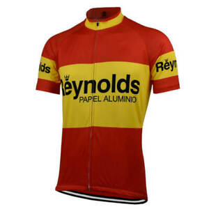Retro Reynolds Red Yellow Cycling Jersey Bike Short Sleeve Pro Clothing Bicycle