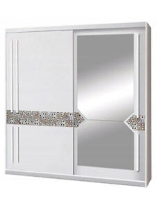 2 Sliding Door Wardrobe - White/Printed Glass/Mirror-200cm. AT1-20. ATENA. NEW