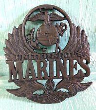United States Marine Plaque Trivet Wall Decor Cast Iron Veteran New 8 3/8 Inches