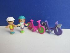 vintage POLLY POCKET ON THE GO cycles bike bicycles FIGURES SET bluebird 90E