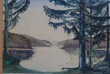 "Hans Ott, 1943 ""Fjord paysage"" Aquarelle, GER/verre, (234/12069)"