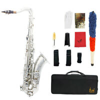 LADE Bb Brass Carve Pattern Tenor Sax Saxophone with Cleaning Kit Silver A9I6