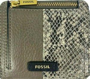 "Fossil Leather Zip ""Logan"" Snakeskin RFID Wallet Small"