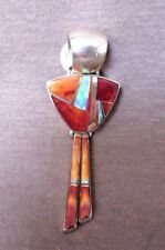 Native Navajo Coral and Opal & Sterling Silver Pendant by Kenneth Bitsie - JP156