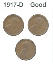 """**Lot of 3** - """"1917-D"""" - LINCOLN WHEAT CENT PENNY - """"Good"""" - Combined Shipping"""