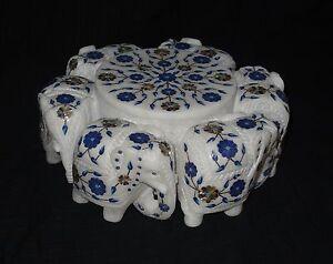 Six Round Elephant Lapis Lazuli Inlaid Marble Paua Shell Big Jewelry Box Trinket