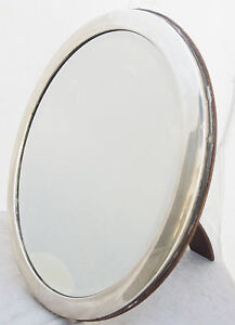 Very Rare Vintage Solid Silver and Wood Mirror G.Romano ART DECO Italy