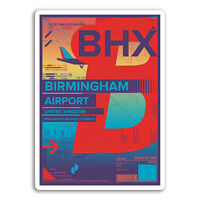 2 x 10cm Birmingham Airport Vinyl Stickers - BHX Sticker Laptop Luggage #17178
