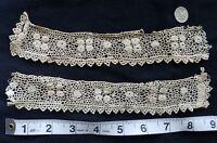 "A12 9"" Antique Irish Crochet Lace Cuffs Trim Edging Sewing Doll Dolls Salvage"
